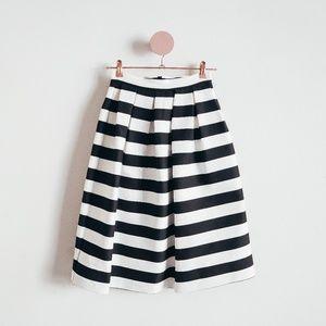 Topshop Black & White Pocketed Striped Midi Skirt